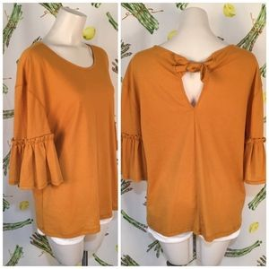 NEW 14th & Union Yellow Bell Sleeve Top Size L